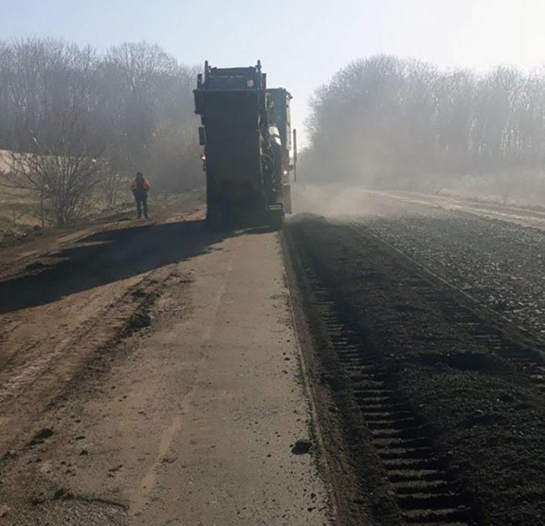 Фото ремонту дороги об'їзд Шполи